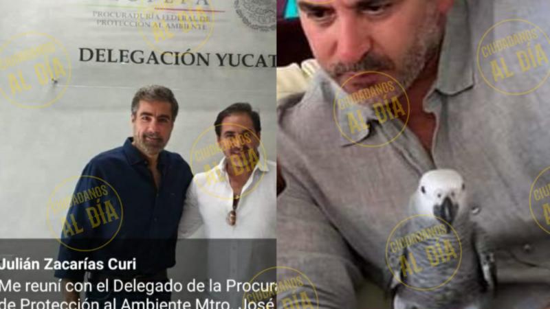 EL ALCALDE DE PROGRESO PRESUME A SU AFRICANO, UN LORO EXÓTICO, CAUSA INDIGNACIÓN.