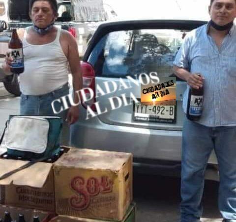 Policías de Chocholá detuvieron a tres sujetos por compra y venta clandestina de cerveza.