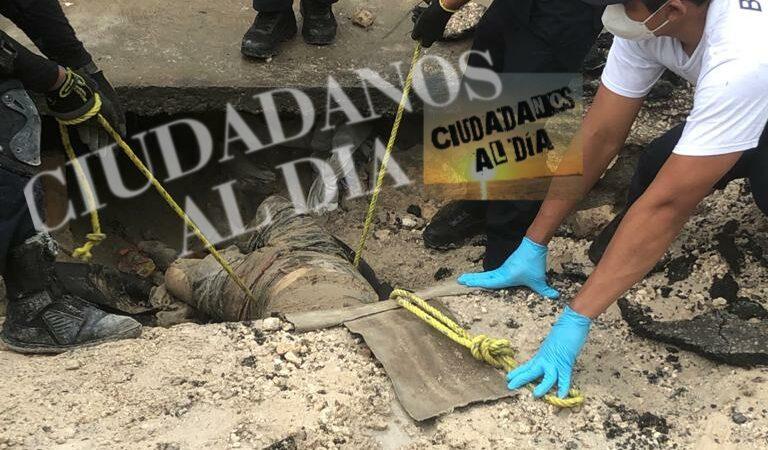 Autoridades retiraron cadáver encontrado dentro de un túnel de huachicol