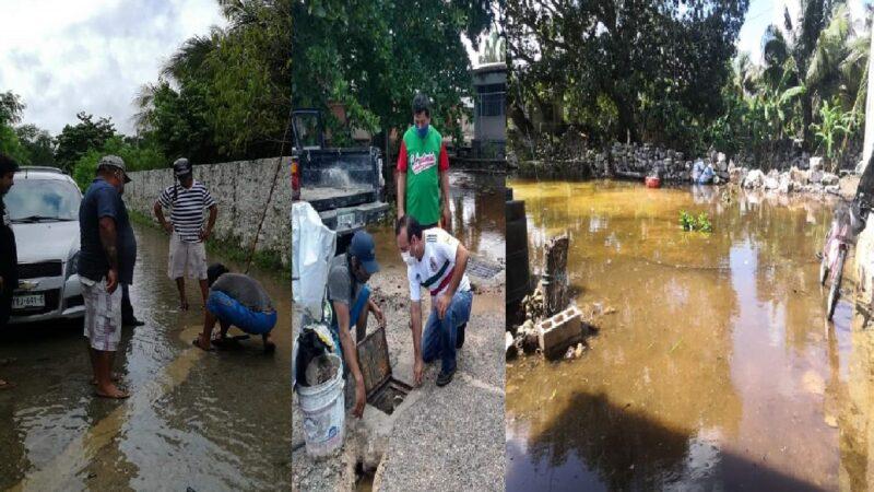 Se volvió a inundar calles y predios en Dzidzantún, un fraude los más de 30 nuevos pozos pluviales