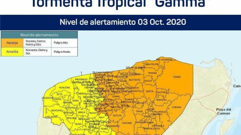 """Yucatán en alerta naranja ante la cercanía de la tormenta tropical """"Gamma"""""""
