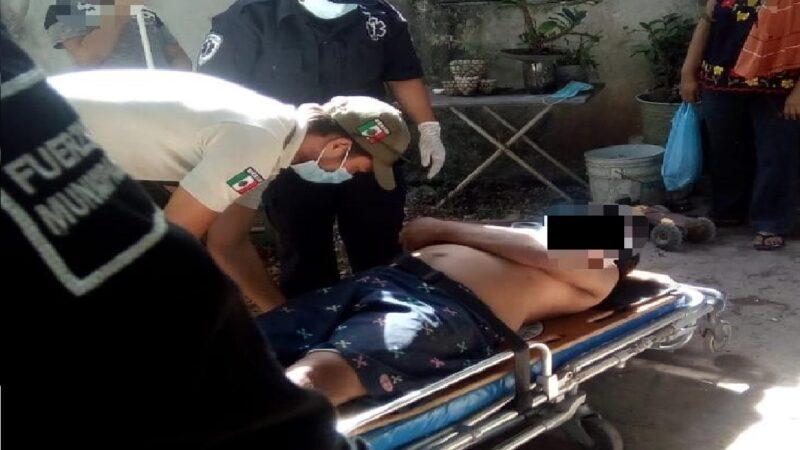 Se lesiona al caer de una escalera de más de tres metros en Cacalchén