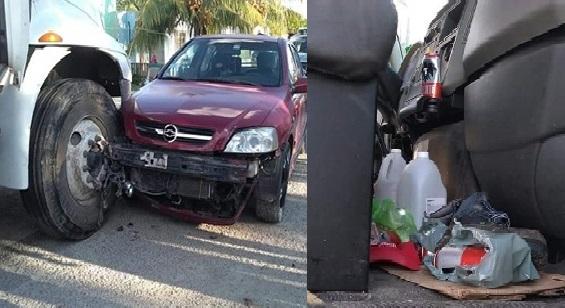 Ebrio volquetero choca a dos carros e intento darse a la fuga en Las Perlas, Uman