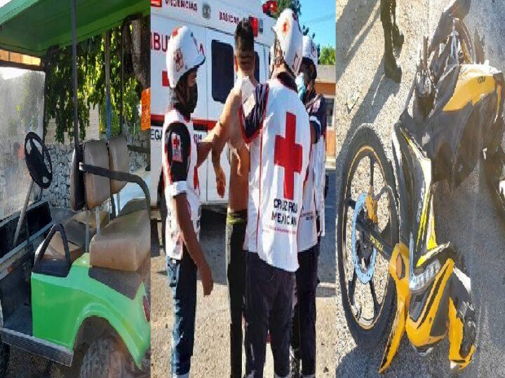 Adolecente de 14 años choca con un carrito de golf a un motociclista en Tizimín
