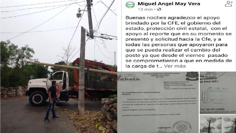 Ángel y Jesús se pelean por un poste de la CFE, alcaldes payasos de Yobaín