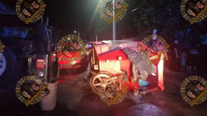 Ebrio se vuela un alto, choca un mototaxi y lesiona a cuatro personas en Motul.