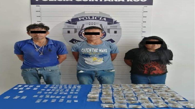 Tres narcomenudistas de Cancún fuera de las calles, fueron detenidos por la SSP