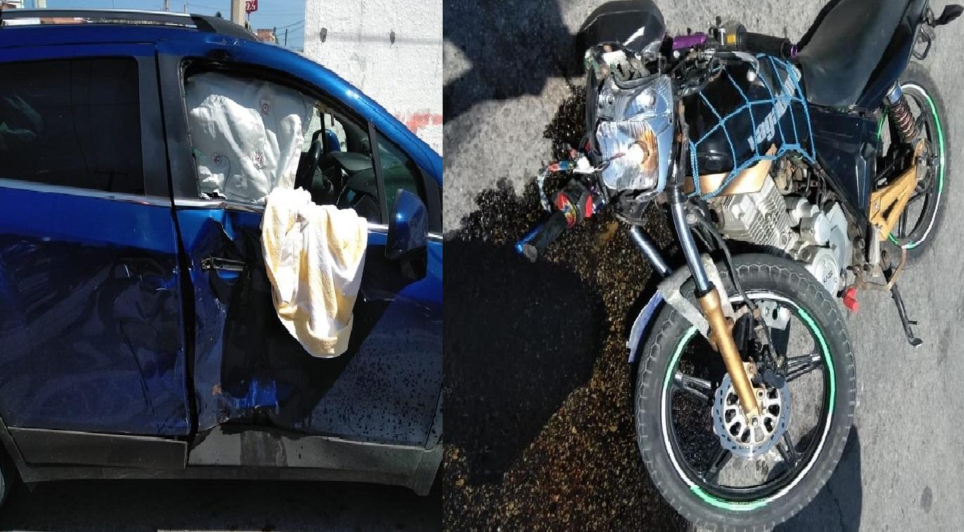Automovilista se vuela un alto, choca y lesiona a un motociclista en Progreso